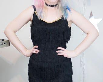Vintage 1960s Does 1920s Flapper Style Little Black Fringe Dress, 60s Fringe Dress, Flapper Fringe Dress, Vintage Flapper Dress, 60s, Black