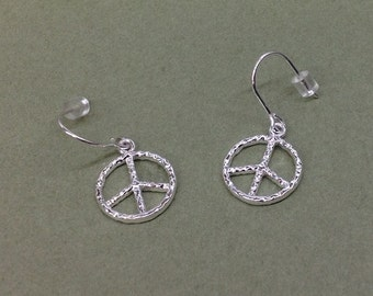 Peace dangle earrings Sterling Silver With French wires