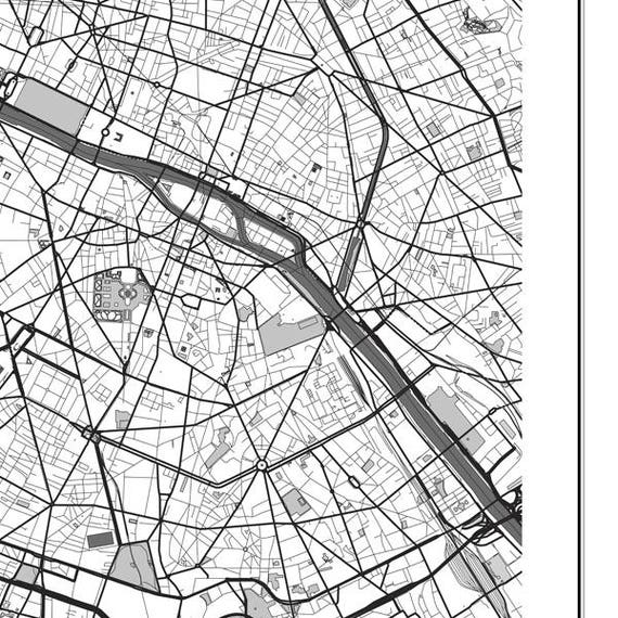 Paris Map Print Wall Art: Paris Map Black And White At Infoasik.co