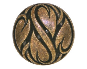 3 Dill Heart Vine 3/4 inch ( 20 mm ) Dill Metal Buttons Antique Copper Color