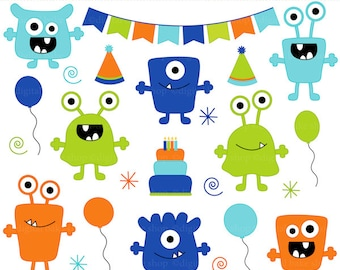 monster aliens clipart clip art birthday party - Boy Monsters Birthday Bash Clipart - BUY 2 GET 2 FREE