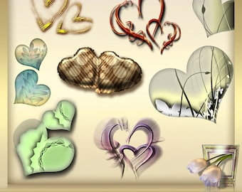 10 Wedding Digital Clip Art, Two Hearts Clipart Vol. 3, Valentine's Day Clipart , Heart clip art, Valentine heart clip art, INSTANT DOWNLOAD