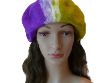SALE, Felted beret, soft  and  light   bicolor  handmade beret  from  merino wool, merino wool,  unique women hat, ready to be shipped.