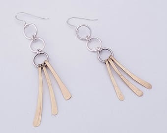 Mobile Mixed Metal Hammered Earrings