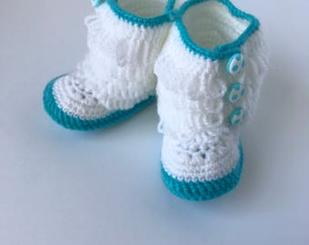 """Baby Boots, Crochet Baby Boots, 5"""", White and Blue, 12-18months Handmade"""