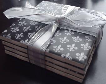 Black/White Fleur-de-lis handmade ceramic tile coasters