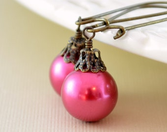 Raspberry Pink Earrings, Large Glass Pearls, Christmas Balls, Antiqued Brass Kidney Earwires, Fun Holiday Jewelry