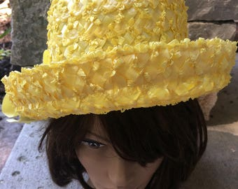 Vintage 1960's Woman's Straw Hat Yellow Summer Raffia Hat with Grosgrain Ribbon Formal Hat, Party Hat Yellow Summer Straw Hat, Party Hat