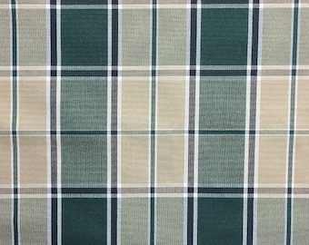 Hunter Green and Taupe Plaid  - Outdoor Fabric - 1/2 yard