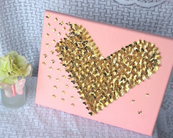 Gold and Pink Wall Art/ Little Girl's Bedroom Decor// Pink and gold bedroom // 3D Art// Nursery Wall Art// Gold Nursery// Gold Wall Art