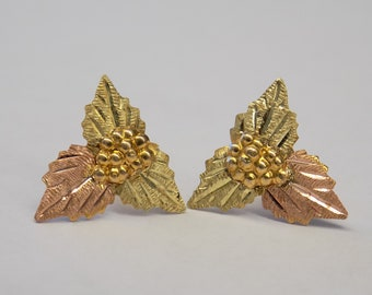 Vintage Black Hills Gold Earrings 3 Leaf 10K-12K BHG Earring Set Used Good Codition BHG Ladies Gold Jewelry Tr-Color Yellow Gold Earrings