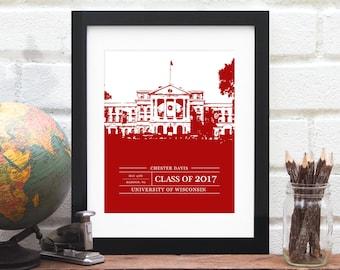 Gift for Grad, Graduation Gift, Graduate Class of 2017, University or College Graduation Art, School Colors, Alumni Gift- 8x10 Art Print