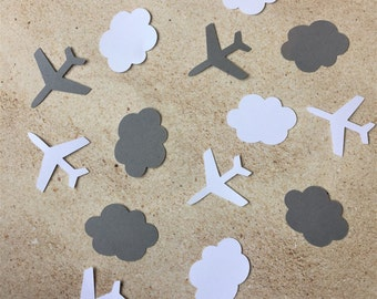 White and Gray Cloud and Airplane Confetti, Airplane and Cloud Table Decor, Paper Planes and Clouds, Baby Shower Confetti, Plane Theme