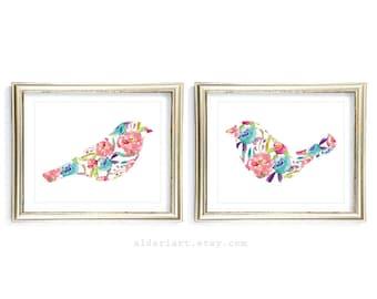 Watercolor Birds Prints - Floral Birds Art Prints - Modern Floral Love Birds Wall Art - Wedding Art Gift - Master Bedroom Decor - Aldari Art