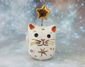 Misfit White Ceramic Cat with Gold Stars