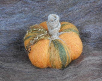 Green and Orange Pumpkin Needle Felted Sculpture, Rustic Harvest, Ready to Ship, Needlefelted Home Decor, Autumn Halloween Thanksgiving