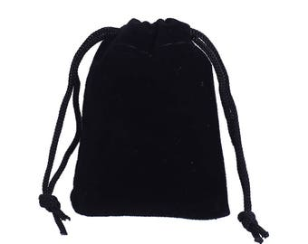 "10 Velvet Gift Bags, BLACK, drawstring, usable space 7x2cm, 2-7/8"" x 2"",  bag0098"