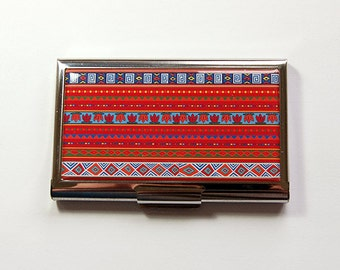 Striped Card Case, Business Card Case, Card case, business card holder, Stripes, Bright Colors, Tribal design, Red (4998)