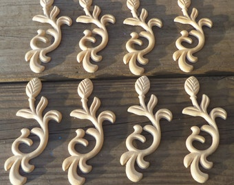 FREE SHIPPING 8 Onlays Birch Wood Embossed Trims Ornaments Pediments Appliques  4.75 Inch Stems Leaves Flower