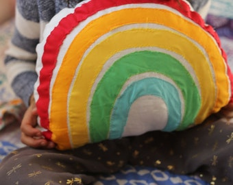 Linen rainbow throw pillow