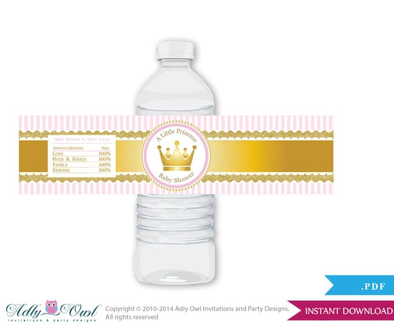 Girl Princess Baby Shower Water Bottle Wrappers Labels