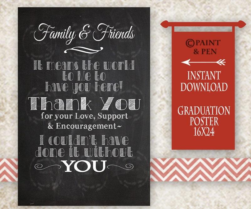 diy grad modern thank you graduation chalkboard college