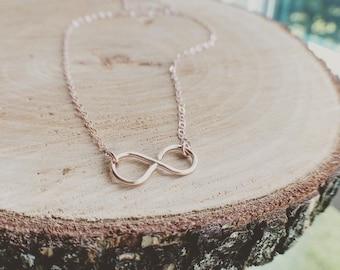 Rose Gold Infinity Necklace - Handmade 14K Rose Gold Filled Infinity Necklace - Handmade By Me - Everyday Jewelry/ Wedding, Bridal Shower