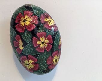 Red Flowered Hand Painted Rock Acrylic Painted Flower Rock