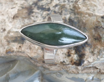 Natural BC Nephrite Jade Sterling Silver Ring.