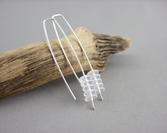 Clear Glass Earrings - Clear Stacked Czech Glass and Sterling Silver Modern Dangle Earrings