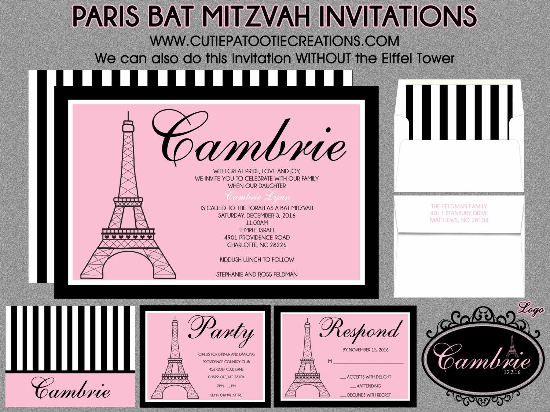 Bat Mitzvah Invitations Paris Theme Eiffel Tower Pink