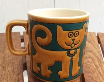 """Hornsea Pottery RARE """"Cats and Piranhas"""" Mug John Clappison 1970s retro"""