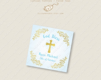 Baptism Printable, Blue Cupcake Topper Favor Tags, Gold Cross, Sticker Christening First Communion custom personalized foil digital pdf