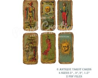 "Antique Tarot Cards Digital Collage Sheet- 6 Tarot Cards- 2 PDF Files - 4 Sizes 5"", 3"", 2"", 1 1/2"""