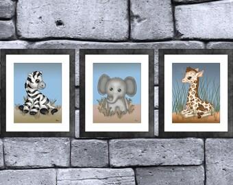 Safari Baby Animal Print Set of 3