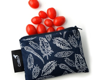 """Ready to ship - Reusable Snack Bag 4x6""""with zipper - Feathers"""