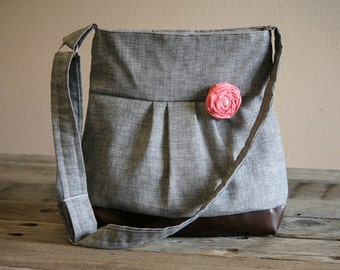 Concealed Carry Purse, Medium Messenger Bag, Grey Conceal Carry Purse, Conceal Carry Handbag, Concealed Carry Purse, Conceal and Carry, Gray