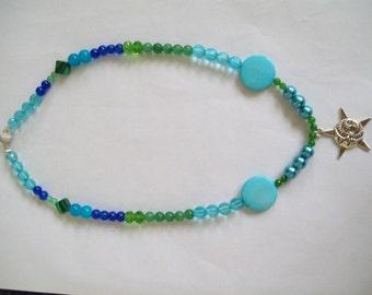 Blue necklace with sun pendant, sunshine pendant, blue necklace, green necklace, silver pendant