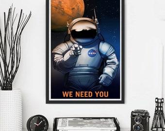 NASA Astronaut Propaganda Mars Jupiter Saturn Neptune  Moon Travel Traveling Space X Tourism Stars Shuttle Planet Minimal Minimalist Poster
