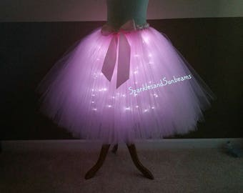Light pink LED tutu** Halloween Orders Available **/ Children to adult Tutu costumes/ Light up tulle skirts(33 colors available)