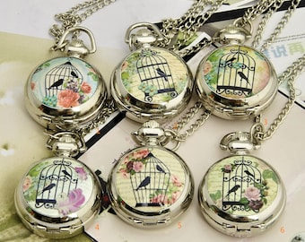 1 Pocket Watch Necklace Watch Clock Watch Vintage Watch Wedding Gift Bird Watch -C072