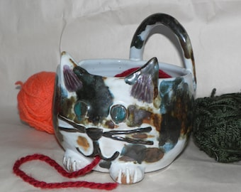Calico Cat Yarn Bowl for Knitting and Crocheting