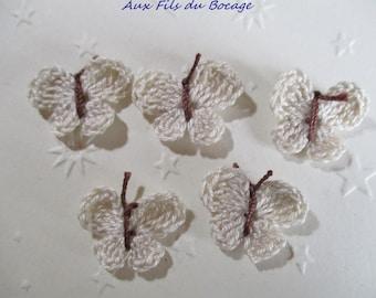 Butterfly crochet ecru cotton inside, set of 5