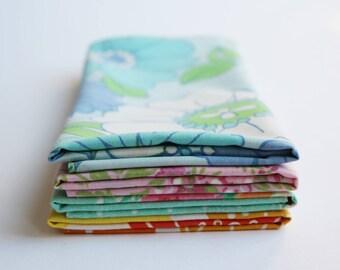 Fabric Napkins, Cloth Napkins, Reusable Napkin Set, Retro Rainbow, Handmade by Knotted Nest