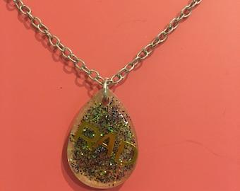Rad word necklace handmade resin statement jewelry nickel free chain