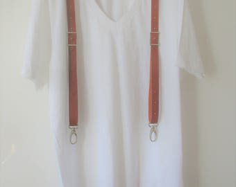"""SLIM men suspenders full calfskin leather """"snap hooks type"""" and Conway Buckless"""
