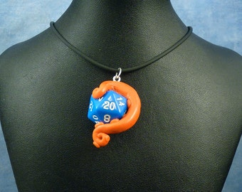 Orange and Blue Sanity Check Necklace - Tentacle Wrapped D20 Pendant