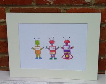 Robots, Nursery art, children's art, nursery decor, new baby gift