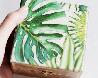 Jewelry Box With Monstera, Trinket Box, Keepsake Box, Wooden Jewelry Box, Storage Box Rustic Home Decor, Tropical Plant, Valentines Day Gift