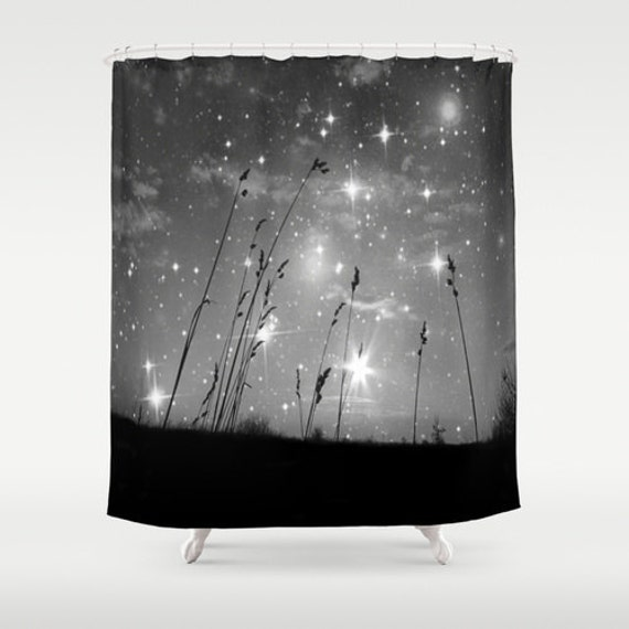 Starry Night Shower Curtain, Stars Bathroom, Black and White Home Decor, Grass, Drama, calm, Nature Home Decor, Whimsical, Night Sky, Noir